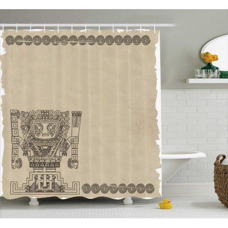 Native American Shower Curtain Mayan And Inca Tribal Symbols