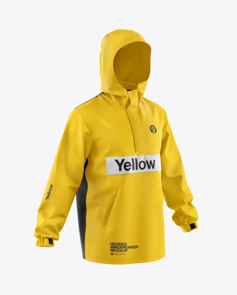 Download Men S Hooded Windbreaker Jacket Mockup In Apparel Mockups On Yellow Images Object Mockups Clothing Mockup Shirt Mockup Windbreaker Jacket