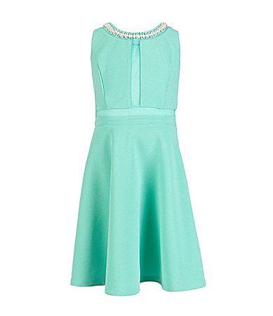 73e6b5d8c44 Monteau Girl   sizes  7-16  Jeweled Neck Skater Dress  Dillards - mint or  off white   FLOWER GIRL