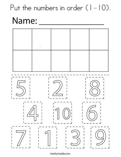 Put The Numbers In Order 1 10 Coloring Page Twisty Noodle Numbers Preschool Preschool Math Worksheets Numbers Kindergarten