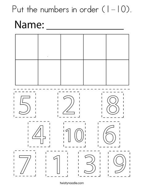 Put The Numbers In Order 1 10 Coloring Page Twisty Noodle Numbers Preschool Preschool Math Worksheets Number Activities Preschool