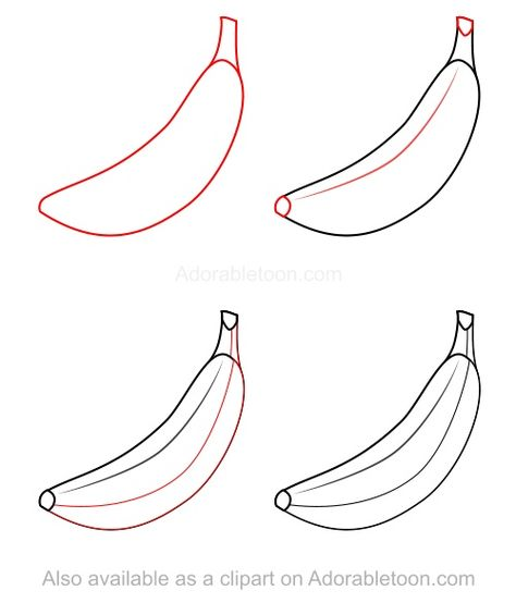 How To Draw A Banana How To Draw Pinterest Fruits Drawing