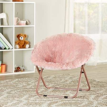 Mainstays Blair Plush Faux Fur Kids Saucer Chair Multiple Colors Walmart Com Pink Chair Stylish Chairs Bedroom Chair