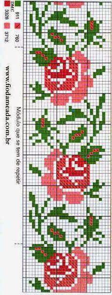 patrones flores en punto de cruz   Pinteres