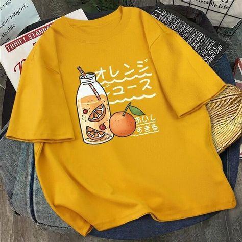 8.74US $ 39% OFF Kawaii Print T Shirt Women Harajuku Ullzang Fashion T shirt Graphic Cute Cartoon Korean Style Top Tees Female Verano Mujer 2021 T-Shirts    - AliExpress