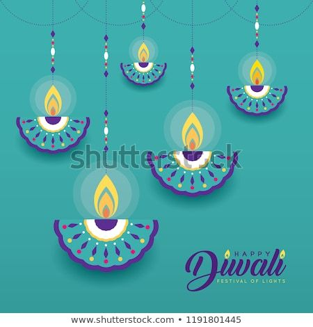 Hanging Diya India Oil Lamp In Flat Vector Style Isolated On Turquoise Background Diwali Or Deepava Deepavali Greetings Cards Diwali Cards Flower Diy Crafts