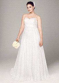 Polka Dot Tulle Empire Waist Soft Wedding Gown