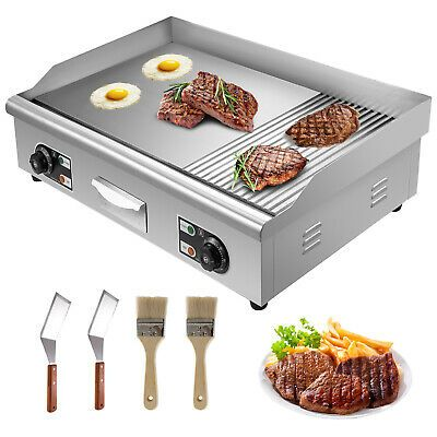 Details About Electric Grill Grooved And Flat Top Grill Combo 30 Inch Commercial Griddle Grill With Images Flat Top Grill Griddle Grill Electric Grill