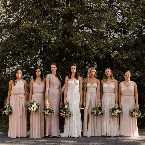 Neutral bridal party groomsmen mismatched bridesmaid dresses ideas for 2019