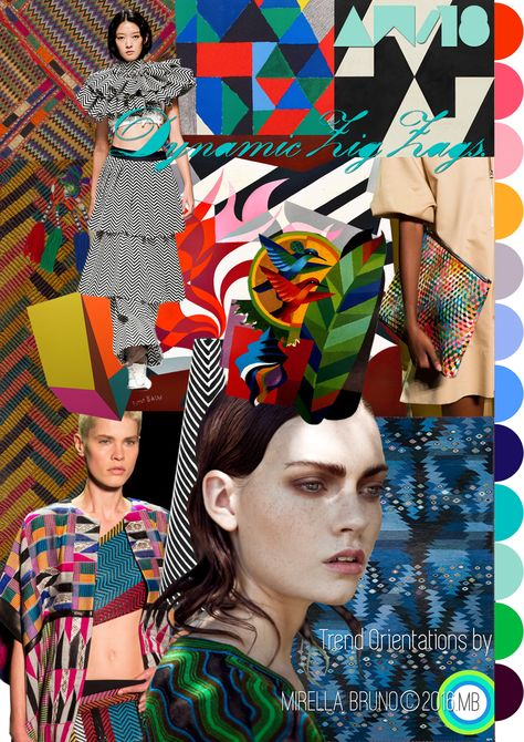 "Trend Orientations © Mirella Bruno Print Trend Designs 2016. ""Dynamic Zig-Zags."" AW/18. http://cargocollective.com/mirella-bruno-print-designs/Inspiration-Information"