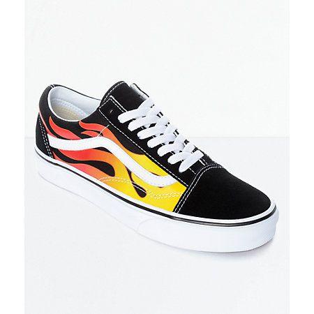 Vans Old Skool Flame Black & White Skate Shoes | Vans old
