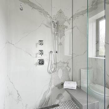 Gray Quartz Waterfall Shower Bench Bathroom Remodel Shower Shower Wall Shower Bench