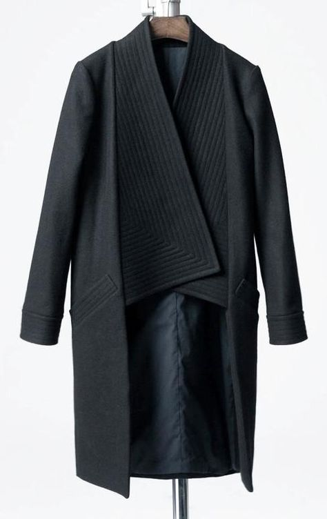 Winter Back Long Quilted Collar Red -Black Woolen Coat Jacket// Short in Front Long Back Loose silhouette