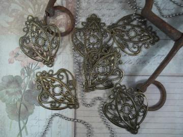 30 pc 15x8mm antique bronze filigree flower bead caps-7594