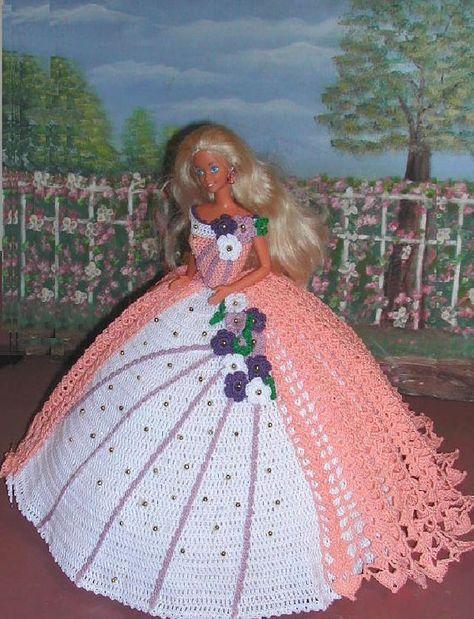 Crochet moda muñeca Barbie patrón - #27 PEEKABOO melocotón