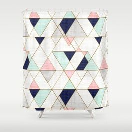 Mod Triangles Navy Blush Mint Shower Curtain Pink Shower