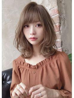 30代40代 大人かわいい ヴェールウェーブブルージュ新宿 髪型 ミディアム パーマ フェミニン ヘアスタイル ヘアスタイル