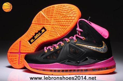 f05592de744 541100-005 Womens Nike Lebron X Black Pink Orange style For Sale ...