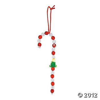 Beaded Candy Cane Christmas Ornament Craft