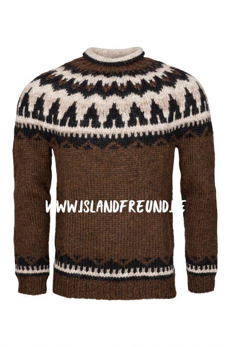 Handgestrickter Island-Pullover Wollpullover braun Wolle Lopapeysa