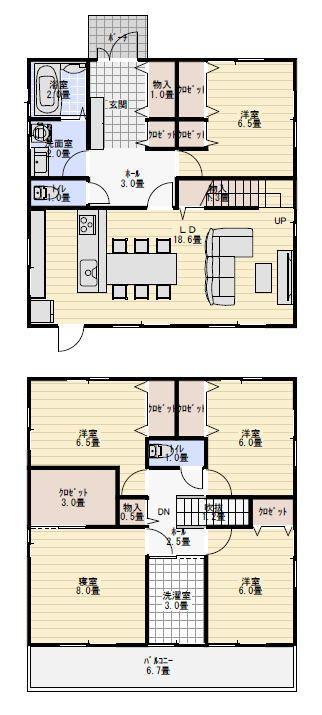 5人家族で住む部屋数の多い家の間取り図 間取り 人気 間取り 32坪 間取り 40坪 間取り