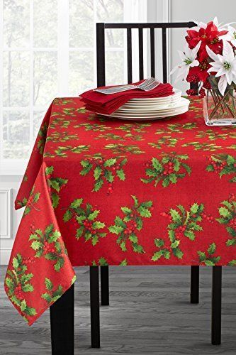 Multicolor Christmas Tablecloth Holiday Assorted Size Fabric Printed Table Cover Bensonmills Christmas Table Cloth Table Covers Fabric Decor