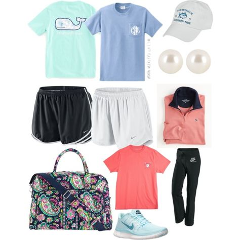 Preppy t shirts and Nike shorts featuring Southern Tide, NIKE, Vera Bradley, Henri Bendel and Vineyard Vines Adrette Outfits, Lazy Outfits, Sporty Outfits, Teenager Outfits, Athletic Outfits, Outfits For Teens, School Outfits, Athletic Shoes, School Looks