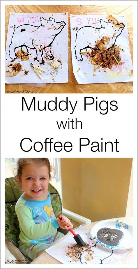 """A fun farm activity for toddlers using coffee paint to make """"muddy"""" pigs!"""