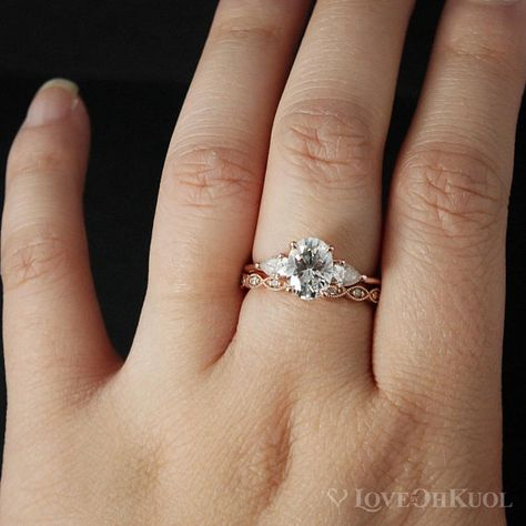 2CT Round Synthetic Moissanite Three Stone Engagement Ring 14K Rose Gold Over