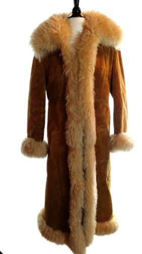 70s VTG Womens Suede Real SHEARLING Fur Princess Coat Jacket ...