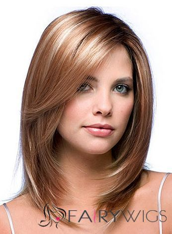 Chic Full Lace Medium Straight Blonde Indian Remy Hair Wig Frontal Hairstyles Medium Length Hair Styles Long Hair Styles