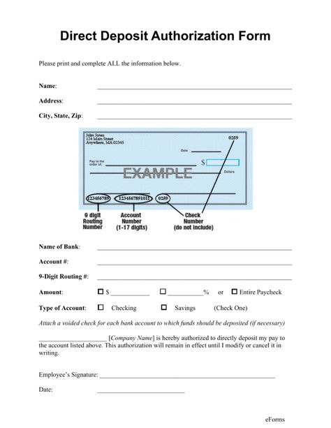 Free Direct Deposit Authorization Forms Pdf Word Eforms Sample Form Examples  Download | Home Design Idea | Pinterest | Pdf Word