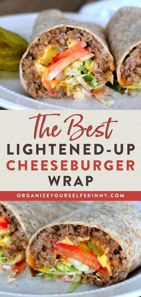 Grilled Cheeseburger Wrap This healthy cheeseburger wrap is filled with lean ground beef, melted cheese, and all your favorite hamburger toppings. Just like a real burger! Lunch Meal Prep, Easy Meal Prep, Healthy Meal Prep, Easy Healthy Recipes, Fast Recipes, Healthy Lunch Wraps, Healthy Food, Lunch Meals, Fast Healthy Dinners