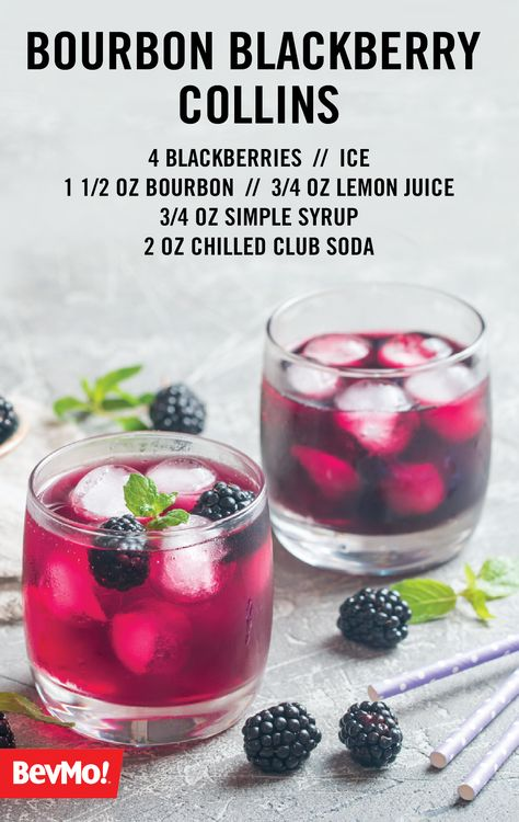 We're all about the bourbon for party cocktail recipes with plenty of southern flair! Check out this Bourbon Blackberry Collins to enjoy a delicious combination of fresh fruit, your favorite bourbon from BevMo!, simple syrup, lemon juice, and club soda. Cocktail Party Food, Cocktail Drinks, Cocktail Ideas, Craft Cocktails, Refreshing Drinks, Summer Drinks, Bar Drinks, Alcoholic Drinks, Restaurant Drinks
