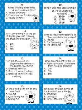 Here's a set of 28 question cards to review the American Revolution causes, people, and events.