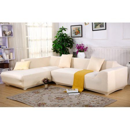 Universal Sofa Cover For L Shape 2pcs Polyester Fabric Stretch Slipcovers 2pcs Pillow Covers For Sectiona Leather Sectional Sofas Diy Sofa Cover Sofa Covers