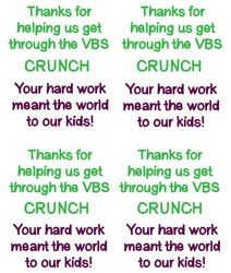 Thanks for help us get through the VBS CRUNCH...Your hard work meant the world to our Kids!