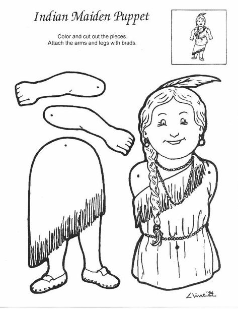 Indian Maiden Craft Template For Kids