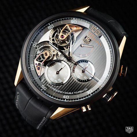 """@Regrann from @tagheuer: Introduced in 2012 as part of TAG Heuer's high-precision """"Mikro"""" line of chronographs, the MikrotourbillonS employs two separate tourbillons. The tourbillon regulating the watch rotates once per minute, while the tourbillon for the chronograph rotates every five seconds. Powered by separate movements, the escapement for the watch vibrates at 28,000 vibrations per hour (4hz), while the chronograph escapement vibrates at 360,000 vibrations per hour (50hz). The chronogra..."""