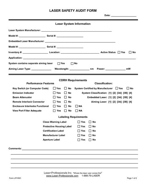 Safety Audit Form - A safety audit form is filled up by employees - external audit report