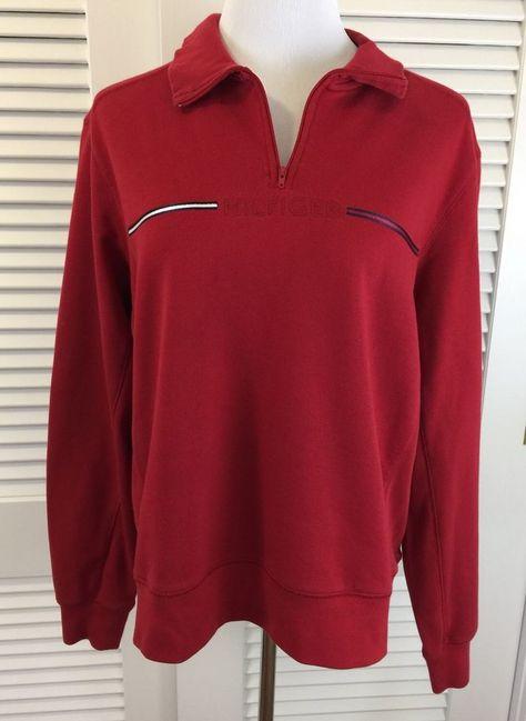 8aa971df TOMMY HILFIGER Women's XL Logo Sweatshirt Red Pullover Vtg 90s Quarter Zip    eBay