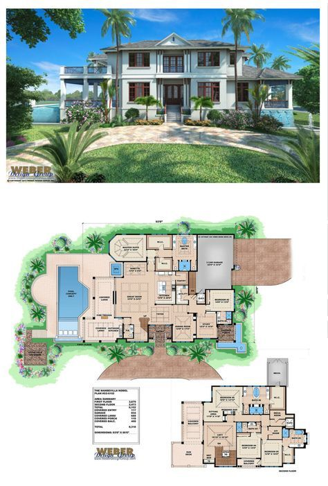 Option 2 With Twin Bedrooms Such As For A Resort Duplex Style Villa Tropical Small House Tropical House Design Beach House Floor Plans Modern Tropical House