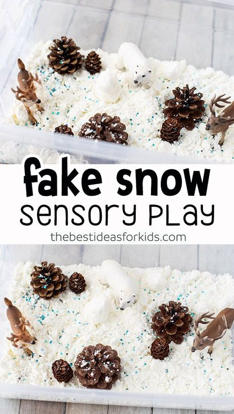 Fake Snow Sensory Bin - this small world play scene for Winter is so fun to make! A perfect winter kids sensory activity. : Fake Snow Sensory Bin - this small world play scene for Winter is so fun to make! A perfect winter kids sensory activity. Baby Sensory, Sensory Play, Sensory Diet, Snow Sensory Table, Toddler Sensory Bins, Winter Activities For Kids, Sensory Activities For Preschoolers, Baby Activities, Winter Crafts For Prek