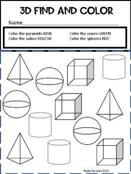 3d Shapes Worksheets Kindergarten And Preschool Shapes Worksheet