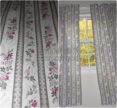 Rows Of Petite Wallpaper Roses Vtg Pair Country Curtains 2 Panels 41 X 54 Ea Shabby Chic Decor Curtains Cottage Curtains