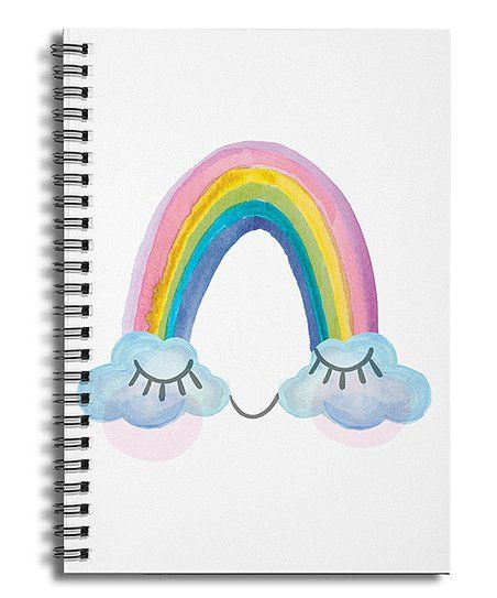 Designs Direct Creative Group White Watercolor Rainbow Cloud Eyes Ruled Spiral Notebook Zulily Rainbow Face Rainbow Cloud Spiral Notebook