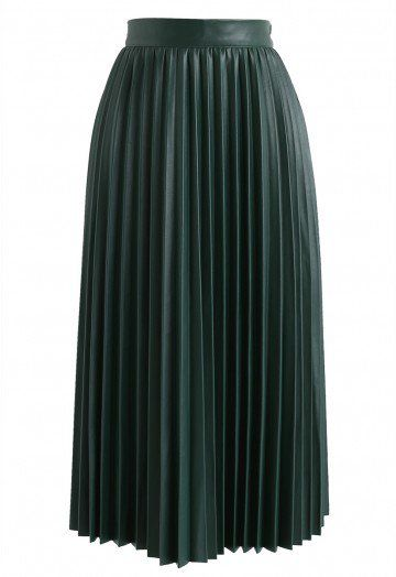Faddish Gloss Pleated Faux Leather A-Line Skirt in Dark Green - Retro, Indie and Unique Fashion