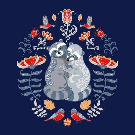 Raccoons Birds Flowers Decorative Ornament Folk Art Folkart Raccoon Bird Happy New Year Folk Art Flowers, Flower Art, Raccoon Art, Scandinavian Folk Art, Ukrainian Art, Hindu Art, Native Art, Tribal Art, Illustration Art