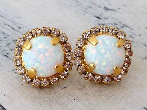 #weddings #jewelry #earrings #bridesmaidgift #bridalearrings #bridesmaidsearrings #swarovskiearrings #rhinestoneearrings #goldearrings #bridesmaidsjewelry #whiteopalstuds #opalearrings #opaljewelry #whitestuds #multicolorstuds