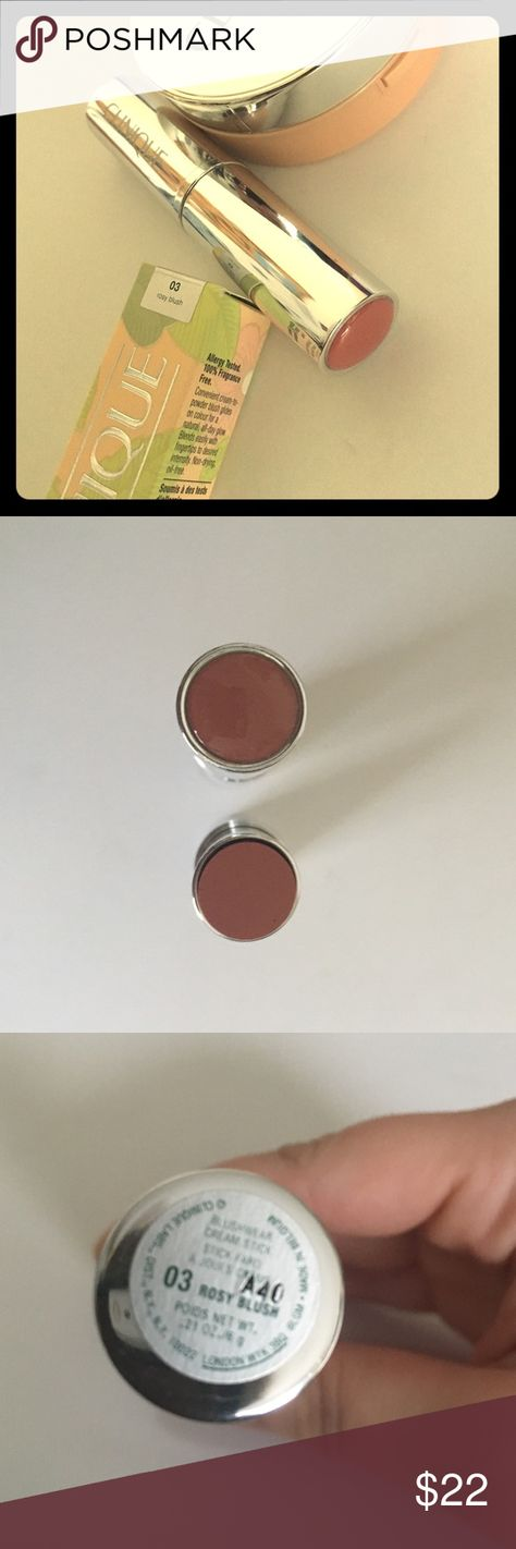 "🎁Clinique Blushwear Cream Stick ""Rosy Blush""🎁 Convenient touch-on, stay-on, cream-to-powder blush from Clinique! Blendable and buildable product. Transfer and water resistant. NIB, never swatched, made in Belgium. Picture four courtesy of makeupandbeauty.com. This  has been DISCONTINUED and is a must have for anyone who loves cream blush! 🚫TRADES🚫LOWBALLING🚫PAYPAL🚫 ✅BUNDLES✅REASONABLE OFFERS✅ Happy Poshing! 😄 Clinique Makeup Blush"